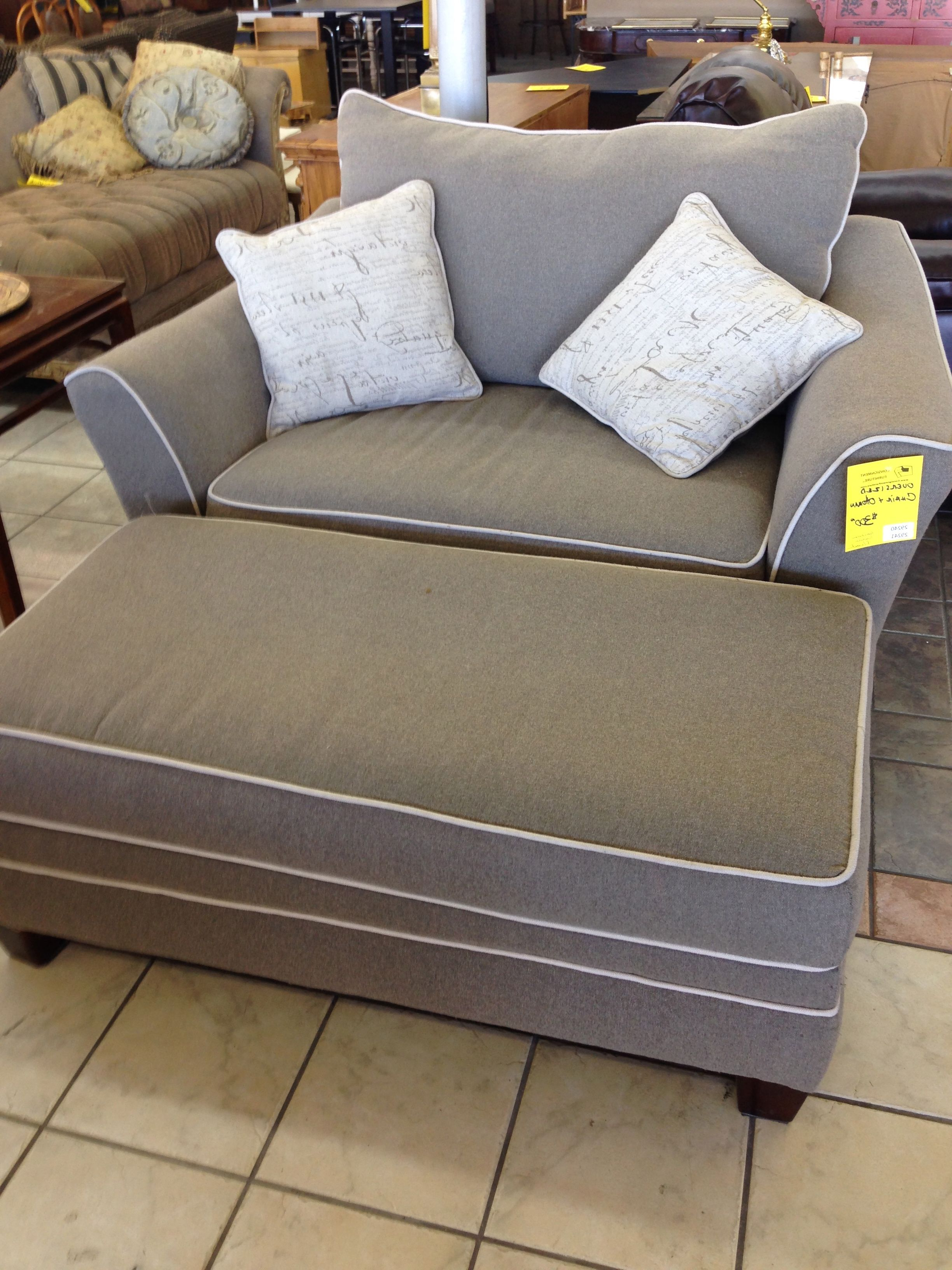 2019 Sofa Chair With Ottoman Pertaining To Stylish Grey Fabric Oversized Chairs With Rectangle Ottoman In (Gallery 3 of 20)