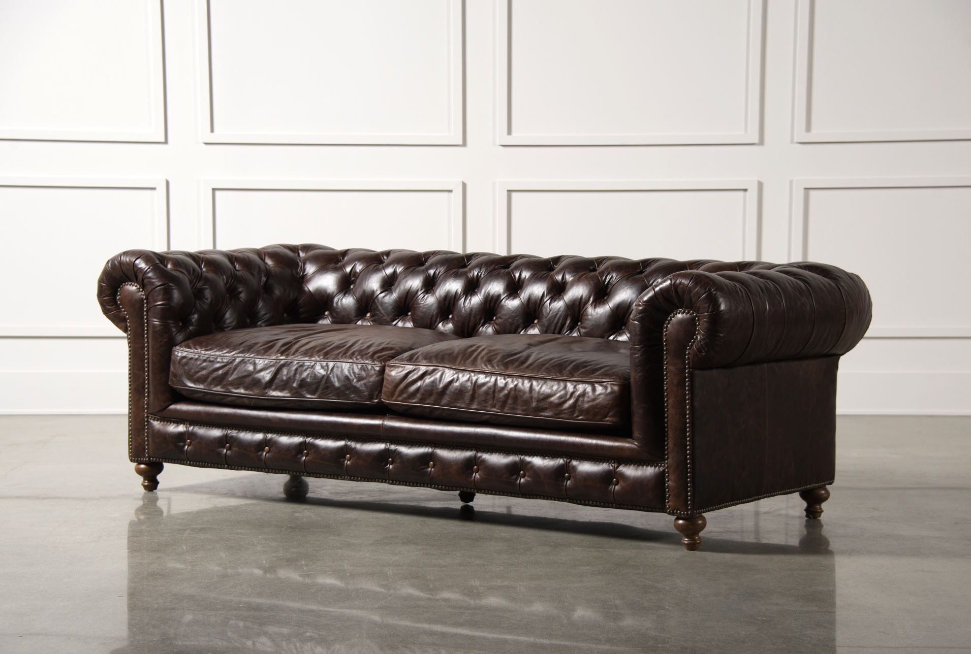 2019 Winthrop Sofa The Classic Lines Of This Chesterfield Sofa Is One Within Mansfield Graphite Velvet Sofa Chairs (View 3 of 20)