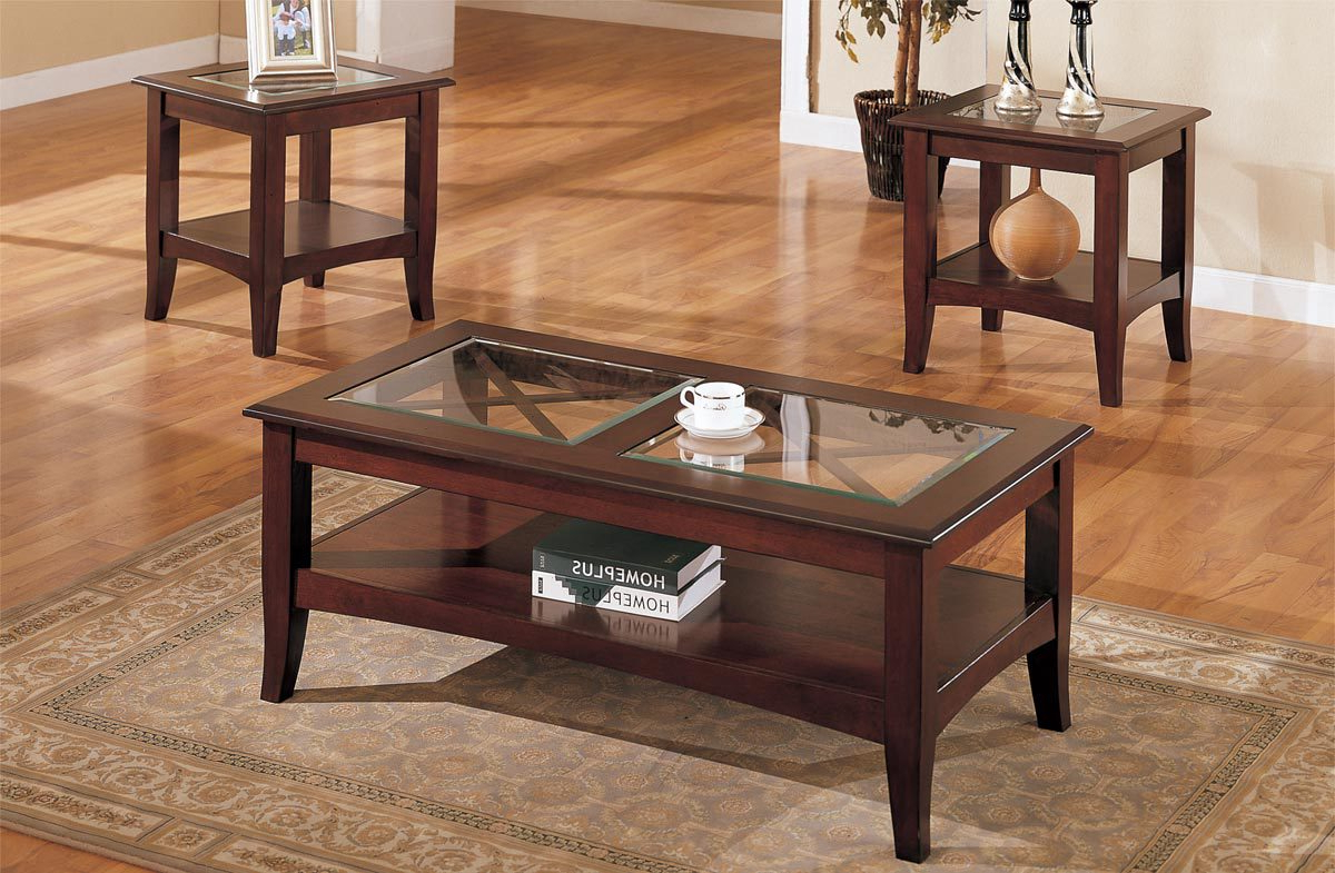 3 Piece Glass & Dark Brown Finish Living Room Table Set – Furniture With Regard To Fashionable Sofa Table Chairs (Gallery 10 of 20)