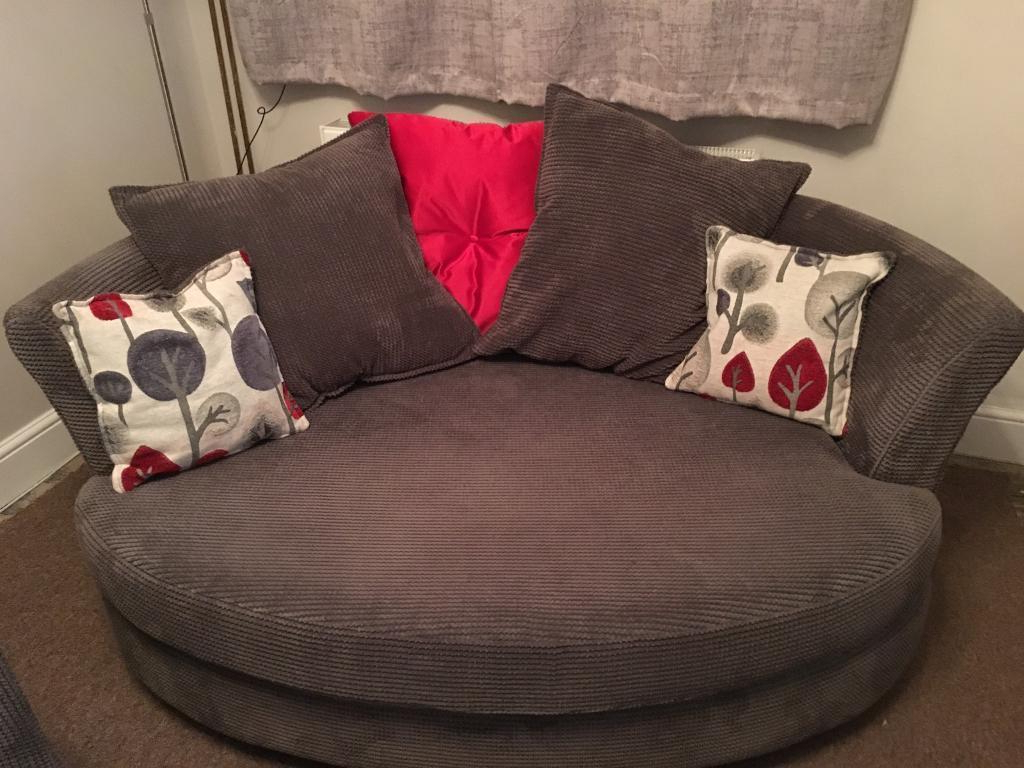 3 Seater Sofa And Cuddle Chairs For Current Dfs Grey/charcoal Fabric 3 Seater Sofa & Cuddle Chair (Gallery 16 of 20)