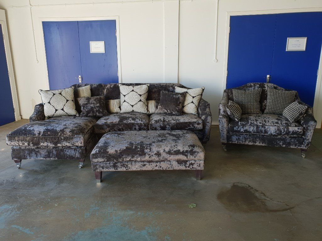 3 Seater Sofa And Cuddle Chairs In Current Fabb Sofas Headline Fabric Crushed Velvet Corner Suite 3 Seater (View 20 of 20)
