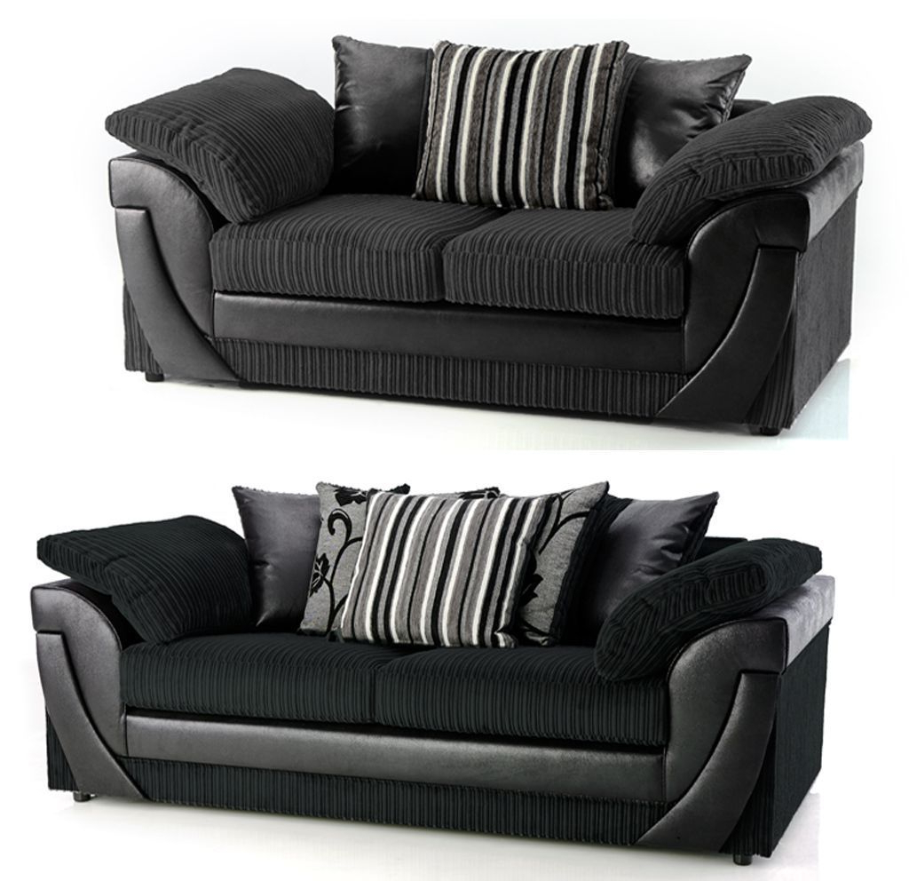 3 Seater Sofa And Cuddle Chairs In Most Popular 3+2 Seater Black Fabric Sofa Set, Cuddle Chair & Corner Sofas Also (View 10 of 20)