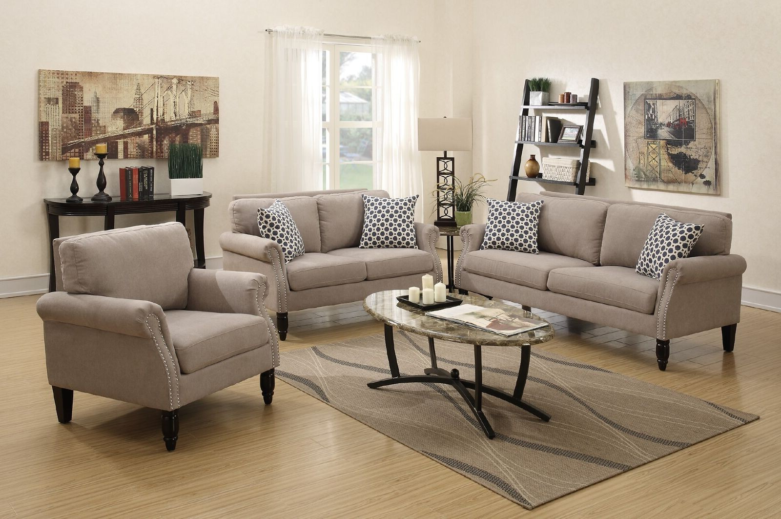 3Pcs Sand Sofa Loveseat Chair Set Lowest Price – Sofa, Sectional Pertaining To Best And Newest Sofa Loveseat And Chair Set (View 2 of 20)