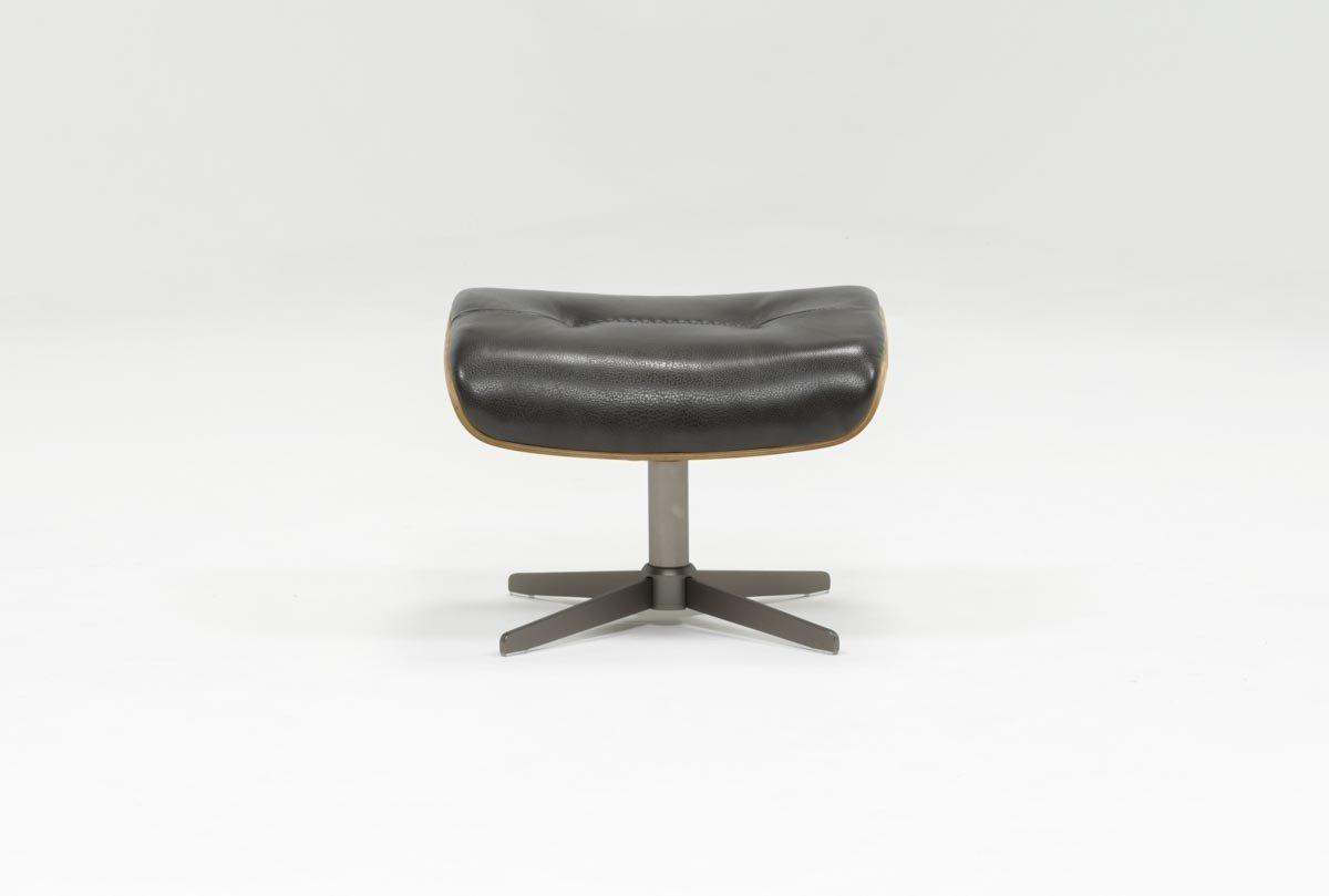 Amala Bone Leather Reclining Swivel Chairs With Regard To Current Amala Dark Grey Leather Ottoman (Gallery 7 of 20)