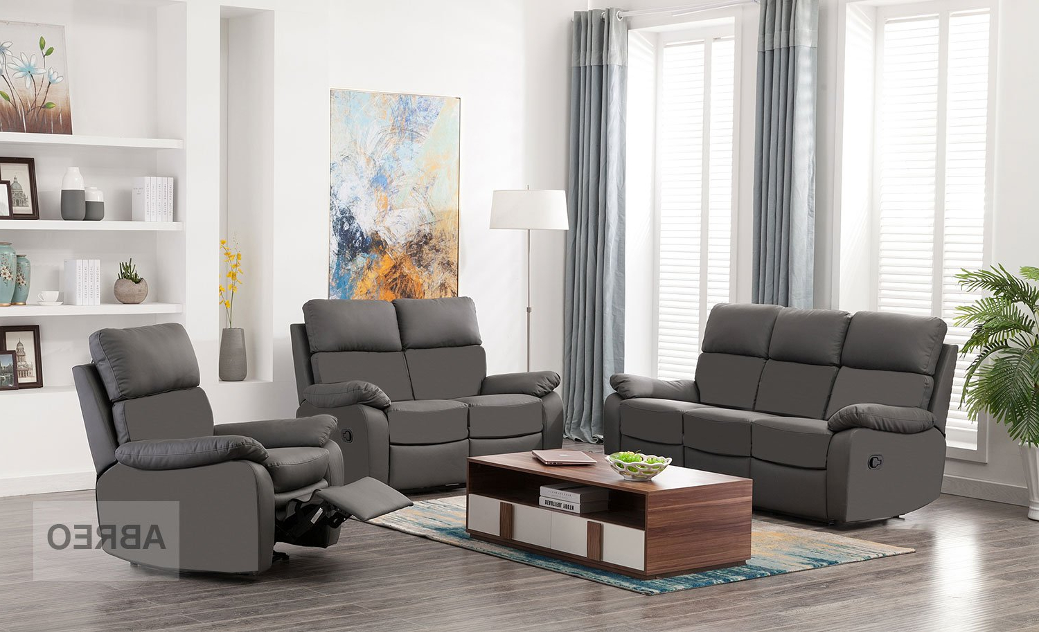 Amala Dark Grey Leather Reclining Swivel Chairs Intended For Famous Seater Leather Recliner Sofa Reclining Armchairs Living Room (View 15 of 20)