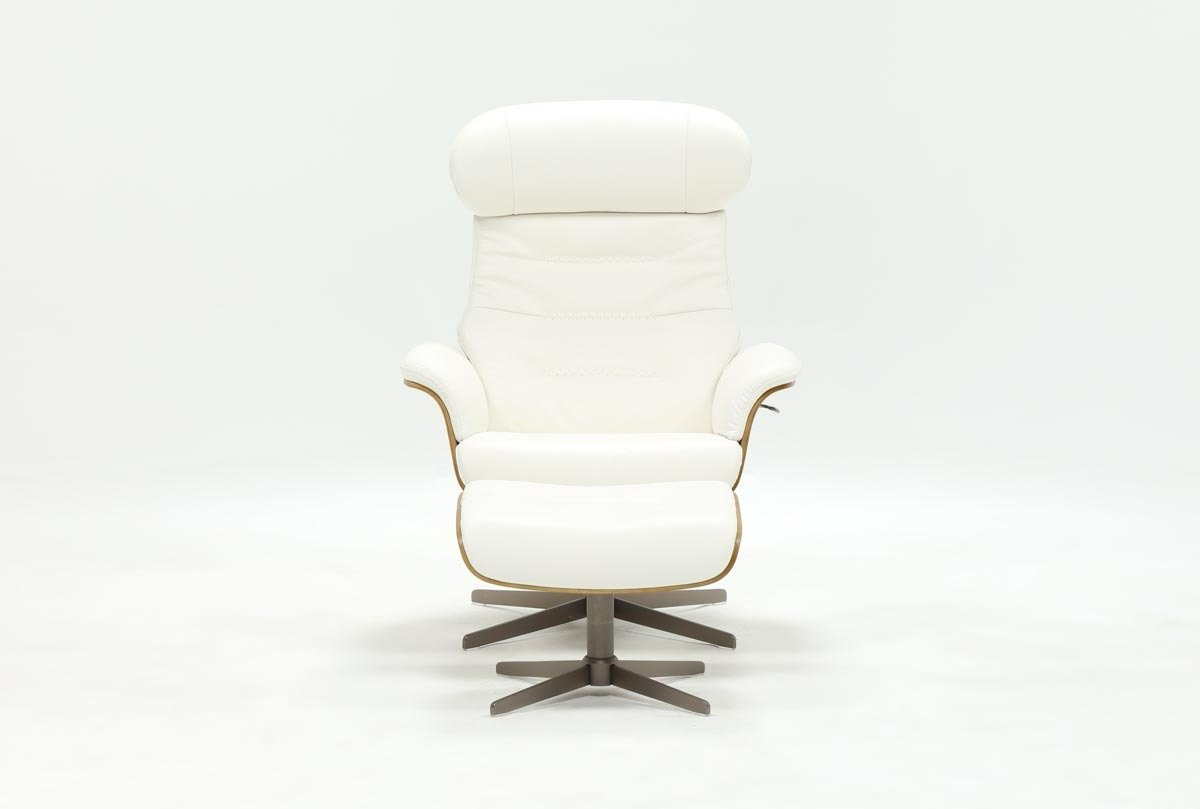 Amala White Leather Reclining Swivel Chairs With Favorite Amala White Leather Chair & Ottoman (View 9 of 20)