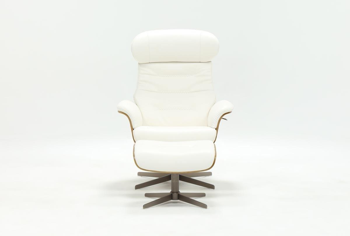 Amala White Leather Reclining Swivel Chairs With Favorite Amala White Leather Chair & Ottoman (View 9 of 20)