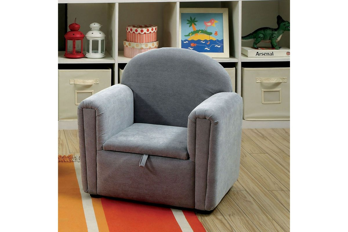 Amari Hidden Seat Storage Youth Accent Chair In Grey At Gardner White For Trendy Amari Swivel Accent Chairs (Gallery 20 of 20)