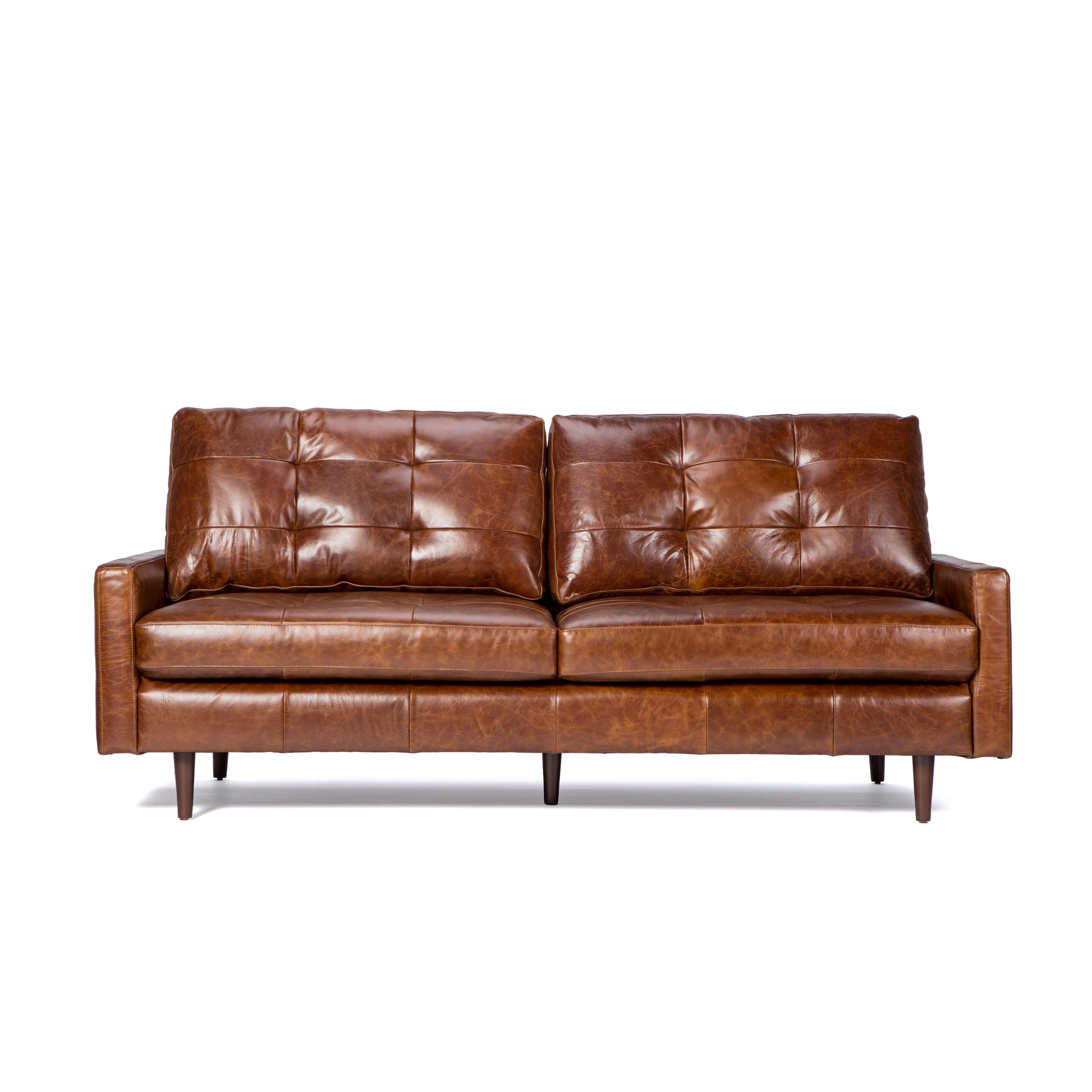 Andrew Leather Sofa Chairs Regarding 2019 Leather Sofa With Tufted Back Cushion – Andrew – Zillo + Hutch (View 4 of 20)