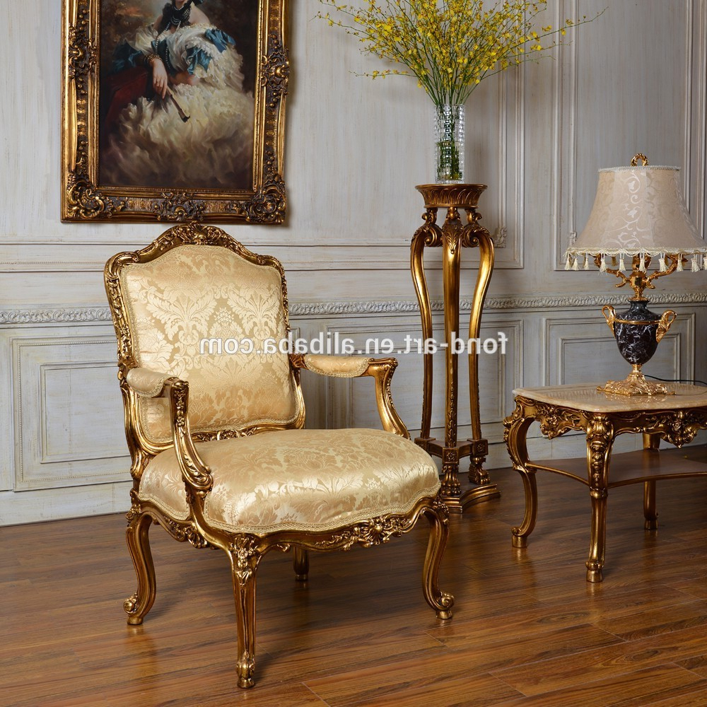 Antique Sofa Chairs Within Well Known C59 Fabric Antique Sofa Gold Classic Bedroom And Living Room Single (Gallery 5 of 20)