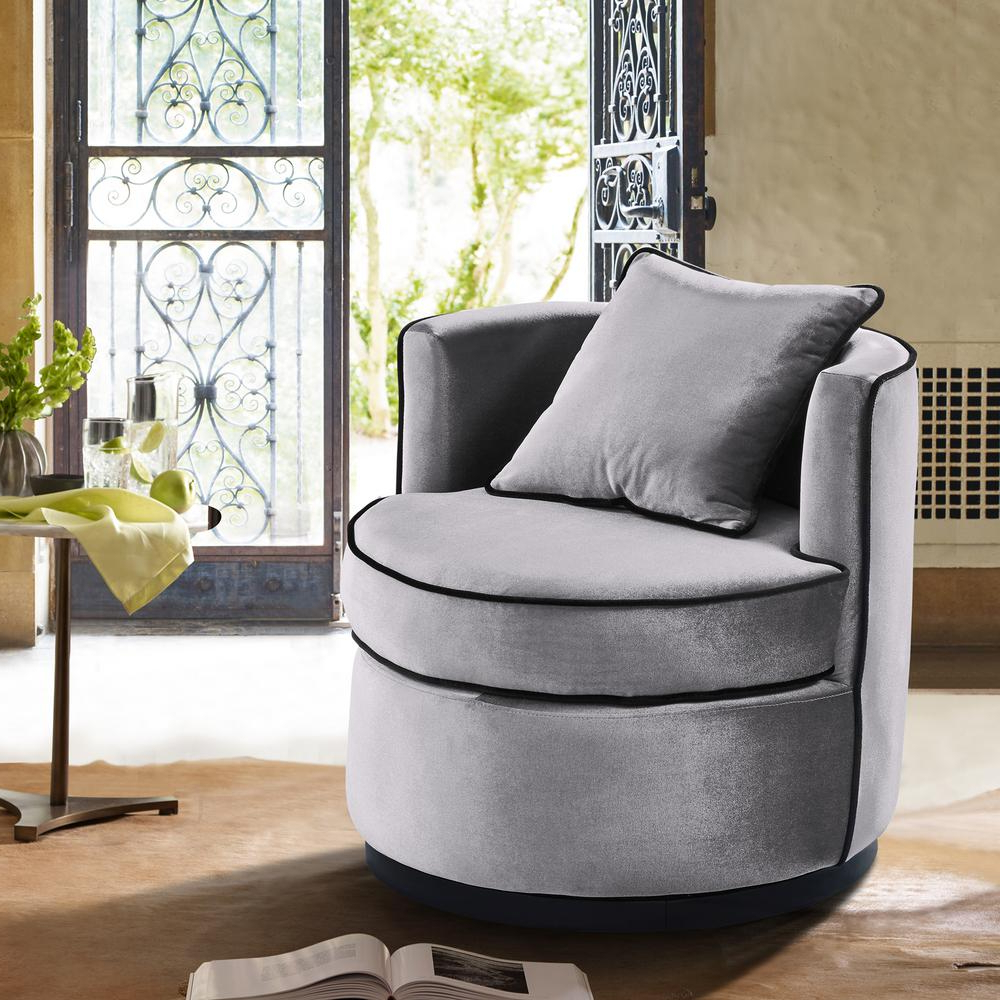 Armen Living Truly Grey Velvet And Black Velvet Piping Contemporary With Regard To 2018 Katrina Blue Swivel Glider Chairs (View 7 of 20)