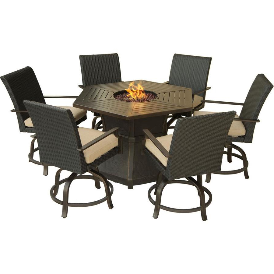 Aspen Swivel Chairs Pertaining To Most Up To Date Hanover Outdoor Furniture Aspen Creek 7 Piece Brown Metal Frame (Gallery 6 of 20)
