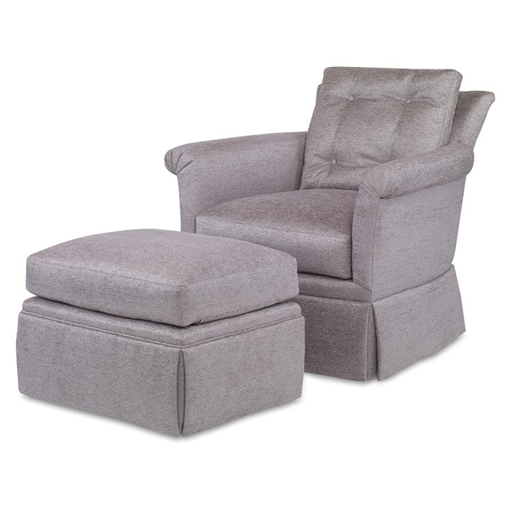 Bailey Chair – Luxe Home Company Regarding Fashionable Bailey Roll Arm Skirted Swivel Gliders (View 9 of 20)