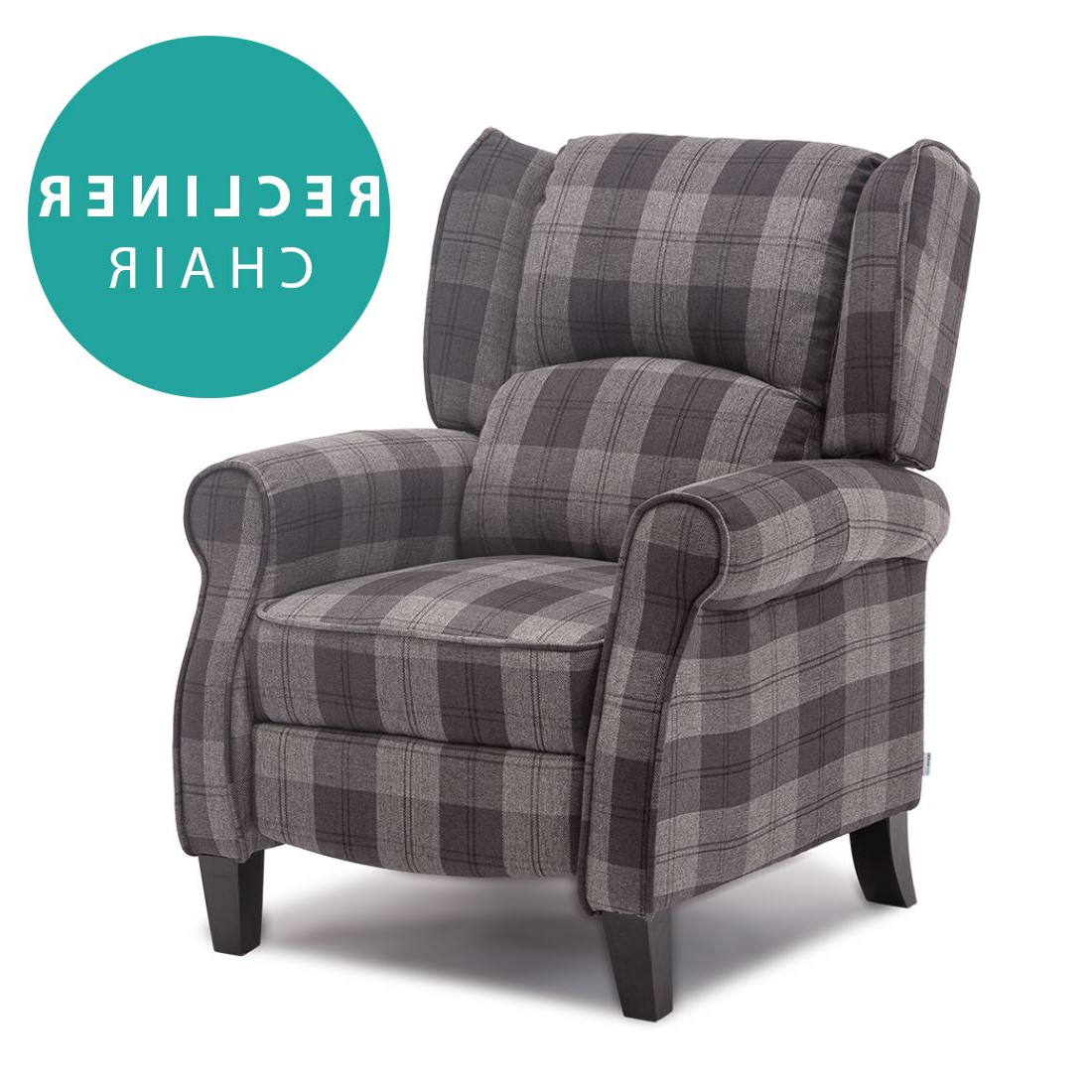Best And Newest Eaton Wing Back Fireside Check Fabric Recliner Armchair Sofa Chair Intended For Sofa Chair Recliner (Gallery 10 of 20)