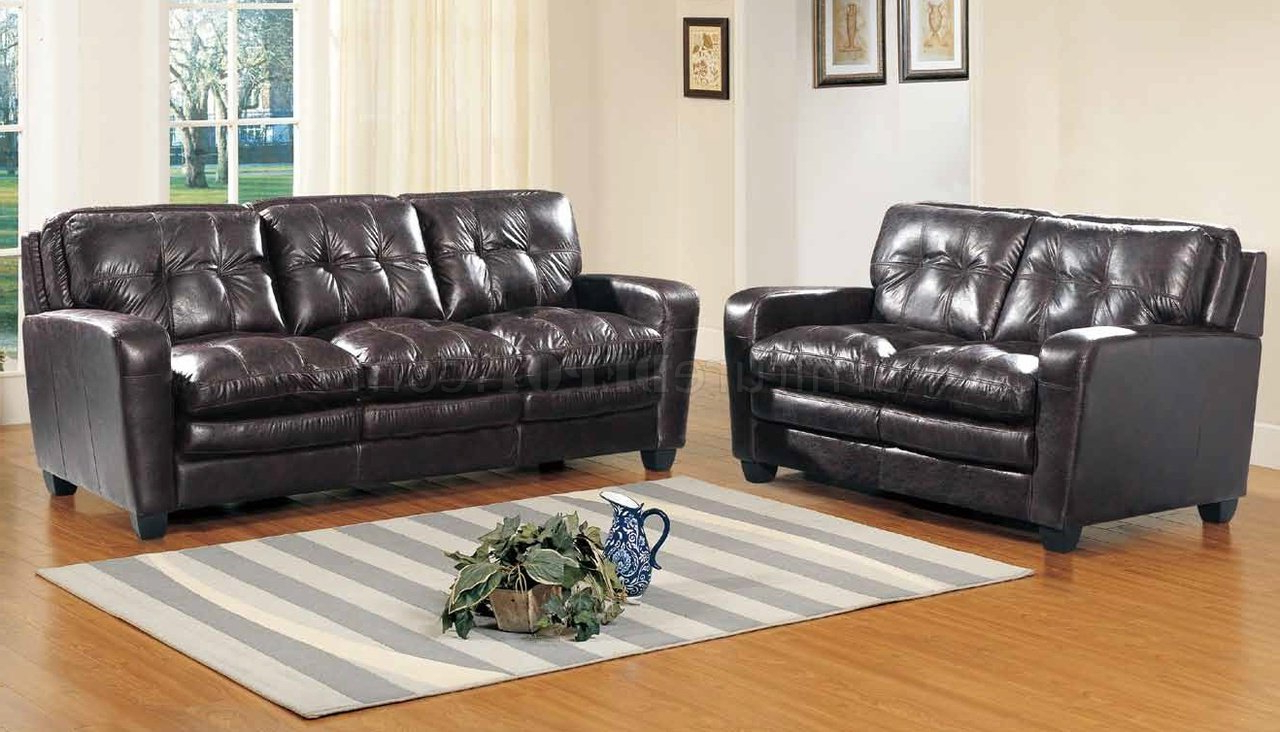 Best And Newest Gina Sofa In Brown Bonded Leather W/optional Loveseat & Chair Intended For Gina Grey Leather Sofa Chairs (View 11 of 20)
