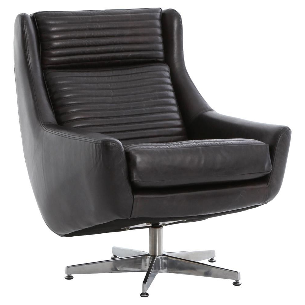 Best And Newest Leather Black Swivel Chairs Within English Charles Black Leather Swivel Chair Zin Home Picturesque (Gallery 2 of 20)