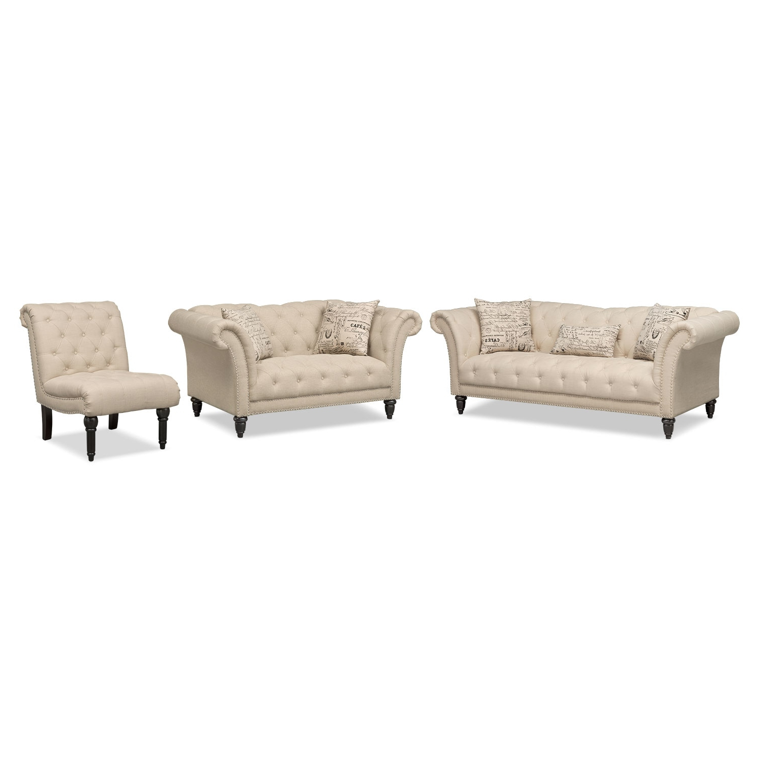 Best And Newest Marisol Sofa, Loveseat And Armless Chair Set (Gallery 7 of 20)