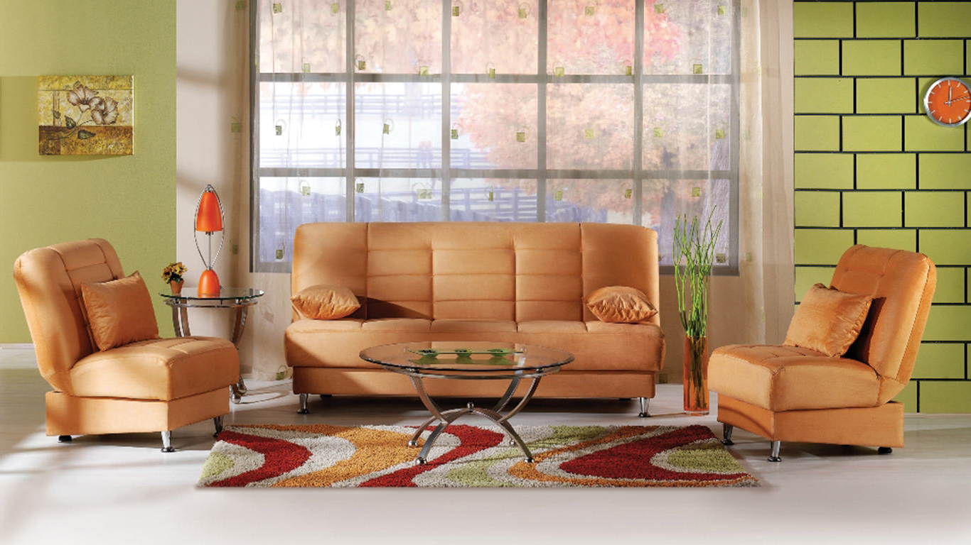 Best And Newest Orange Sofa Chairs Pertaining To Vegas Rainbow Light Orange Sofa & 2 Chairs Setistikbal (Sunset) (Gallery 18 of 20)