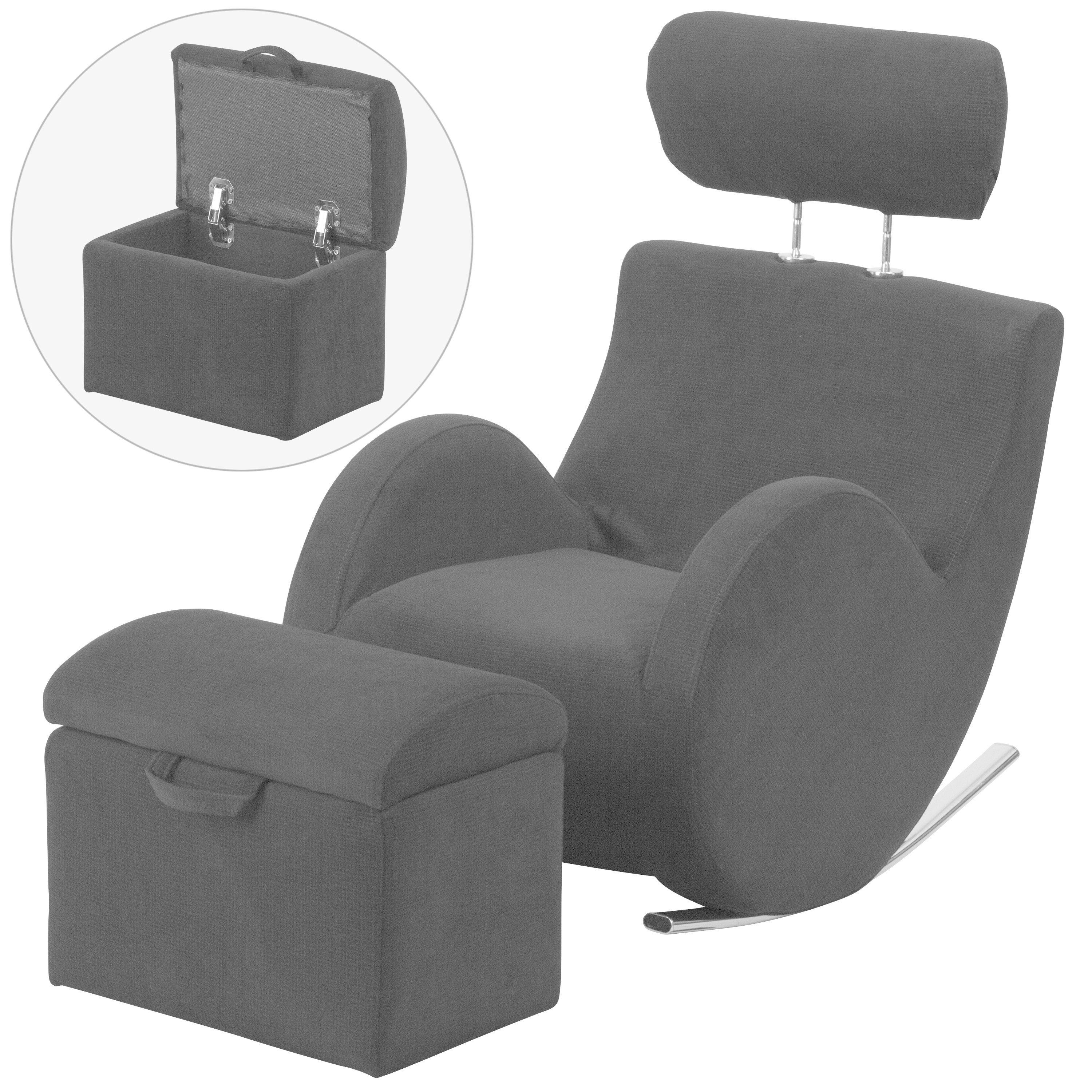 Best And Newest Shop Hercules Kids Rocking Chair And Storage Ottoman Set – Free With Regard To Hercules Grey Swivel Glider Recliners (View 15 of 20)