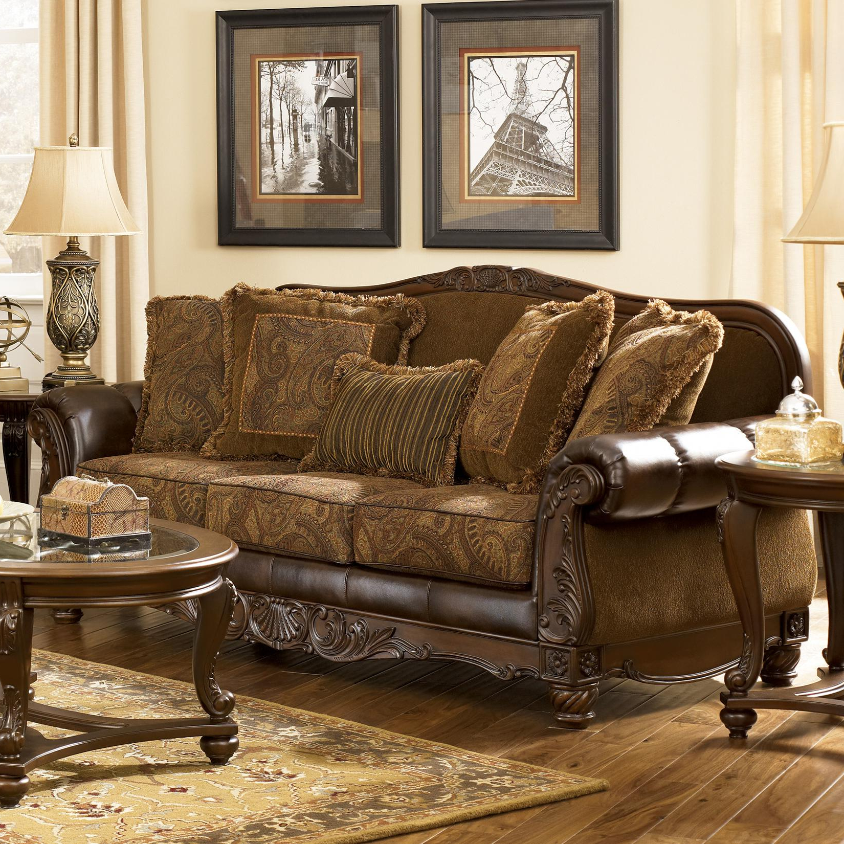 Best And Newest Signature Designashley Fresco Durablend – Antique Traditional Inside Antique Sofa Chairs (View 8 of 20)