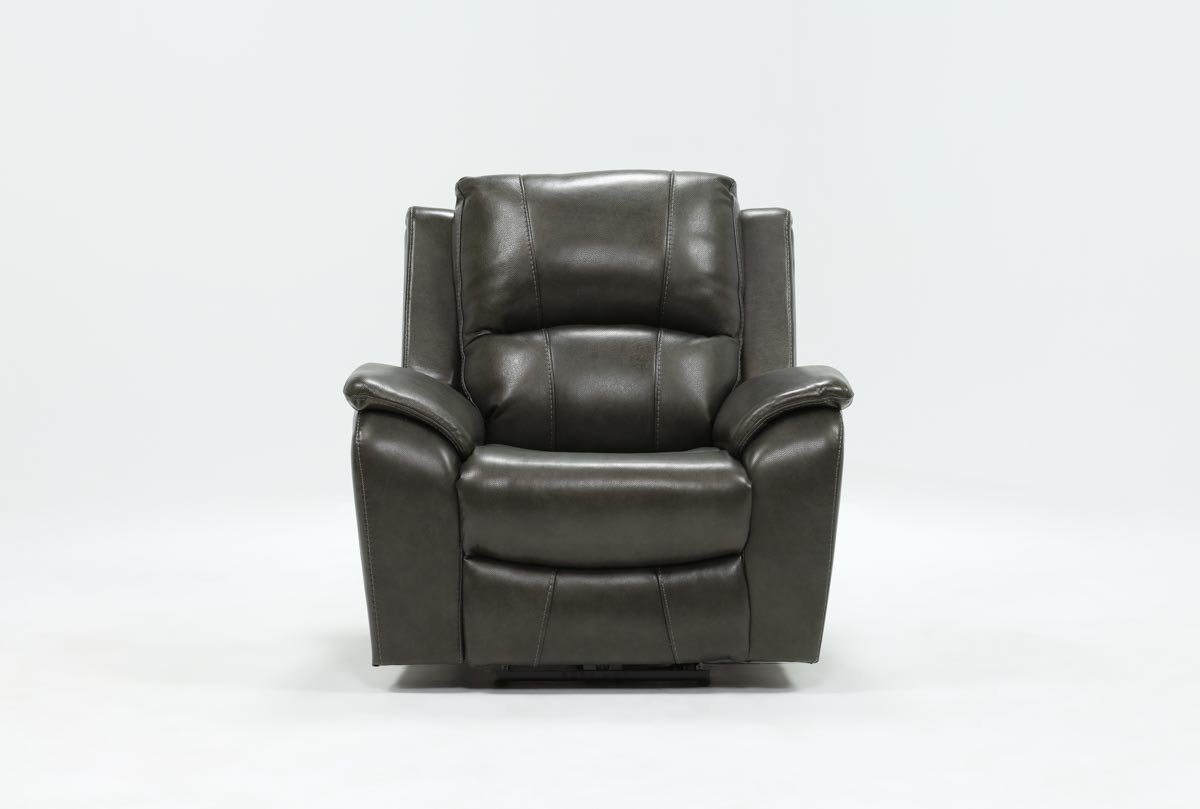 Best And Newest Travis Dark Grey Leather Power Recliner W/power Headrest And Usb Inside Amala Bone Leather Reclining Swivel Chairs (Gallery 10 of 20)