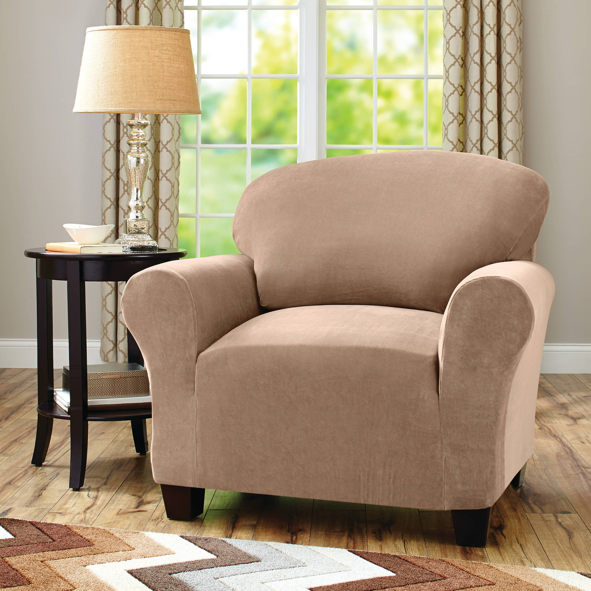 Better Homes And Gardens One Piece Stretch Fine Corduroy Chair In Well Known Sofa And Chair Slipcovers (Gallery 11 of 20)