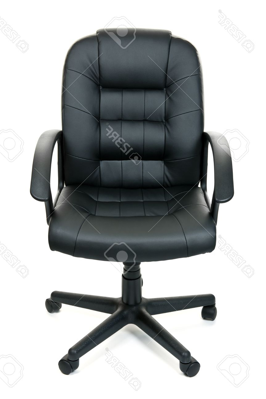 Black Leather Managers Office Swivel Chair Isolated On White.. Stock With Recent Leather Black Swivel Chairs (Gallery 16 of 20)