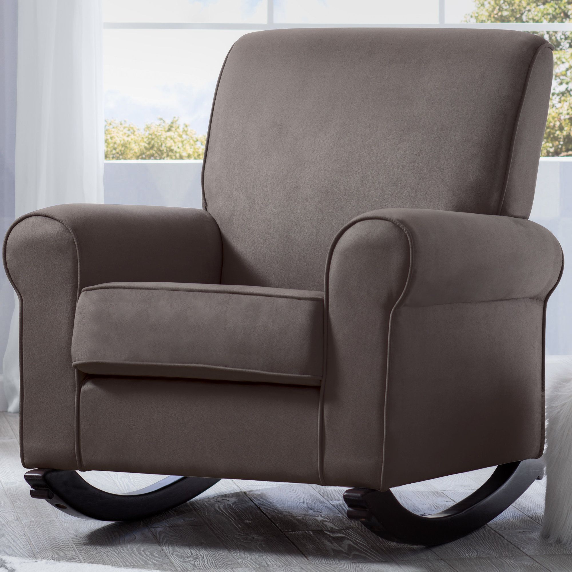 Brady Transitional Swivel Glider Throughout Favorite Bailey Linen Flare Arm Wing Skirted Swivel Gliders (View 4 of 9)
