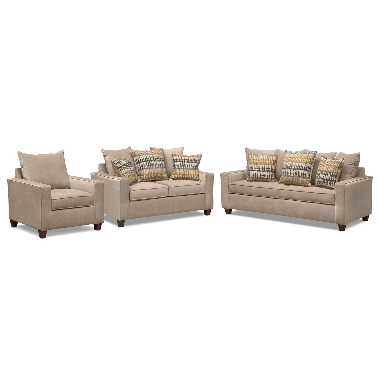Bryden Queen Innerspring Sleeper Sofa, Loveseat And Chair Set Intended For Famous Sofa Loveseat And Chair Set (Gallery 9 of 20)