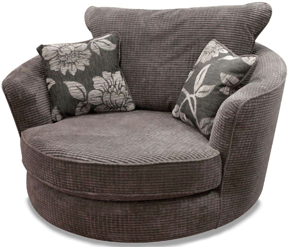 Buy Buoyant Paris Lush Charcoal Fabric Snuggle Swivel Chair With Throughout Fashionable Grey Swivel Chairs (Gallery 20 of 20)