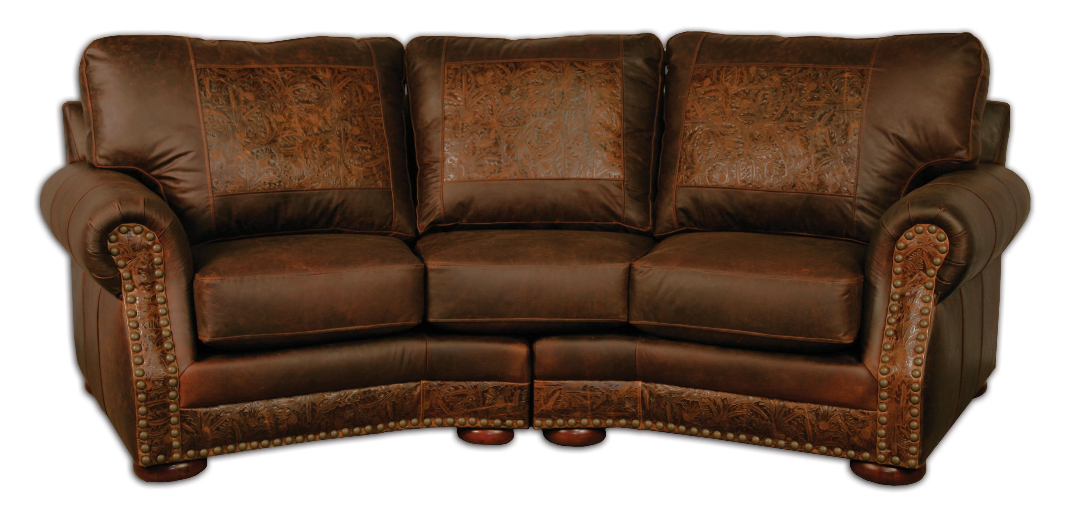 Cameron Sofa Chairs In Newest Cameron Ranch Conversation Sofa Dejavu Holster & Cosmo Tooled Leather (Gallery 8 of 20)