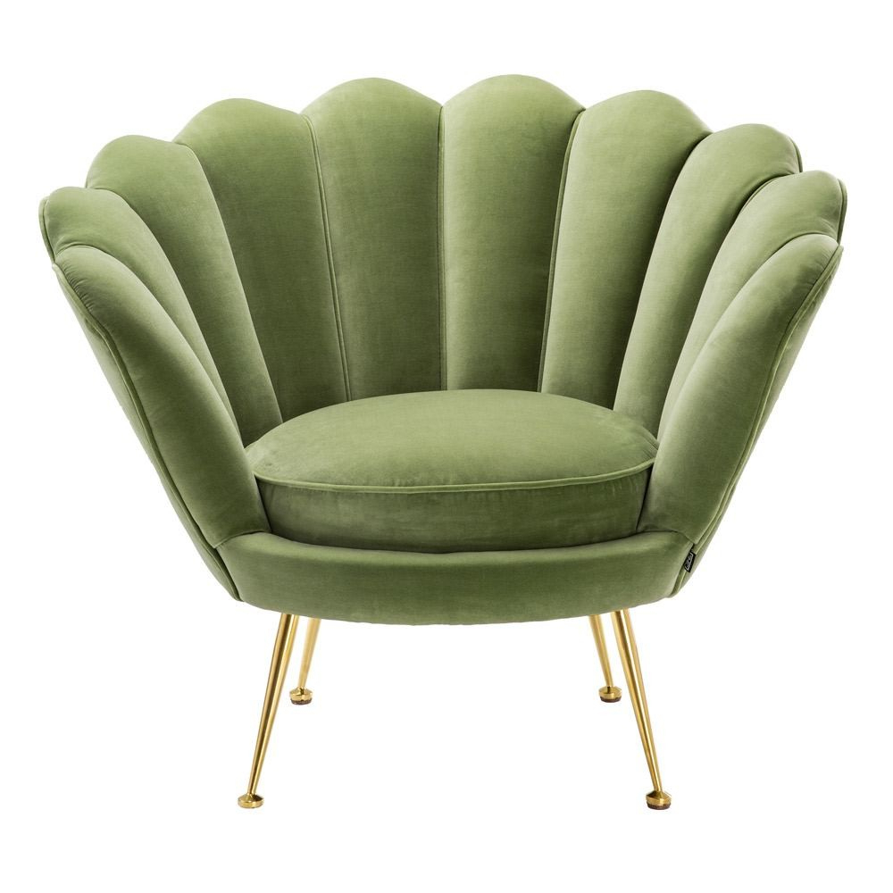 Cameron Sofa Chairs Pertaining To Preferred Eichholtz Trapezium Chair Cameron Light Green Velvet Brass Legs (View 10 of 20)