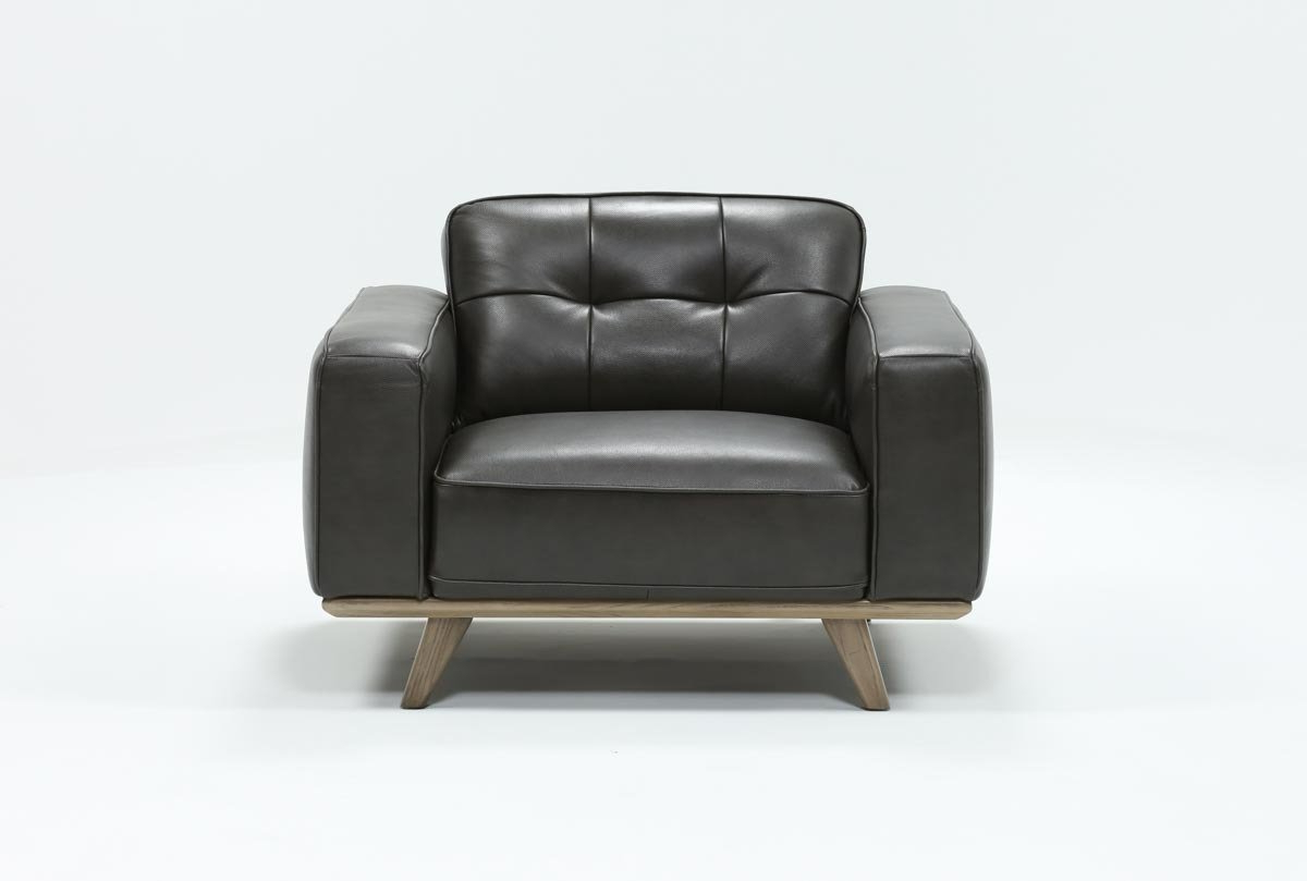 Caressa Leather Dark Grey Chair (Gallery 4 of 20)