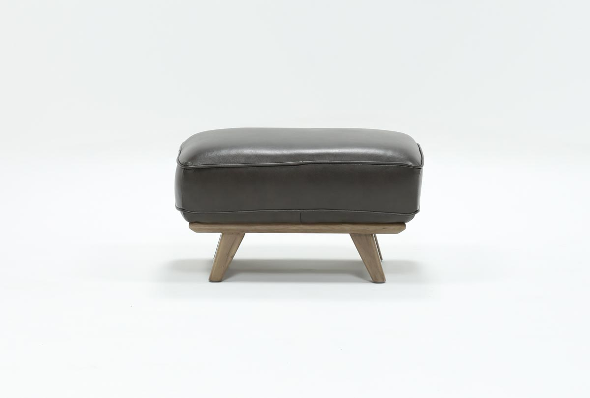 Caressa Leather Dark Grey Ottoman (View 17 of 20)