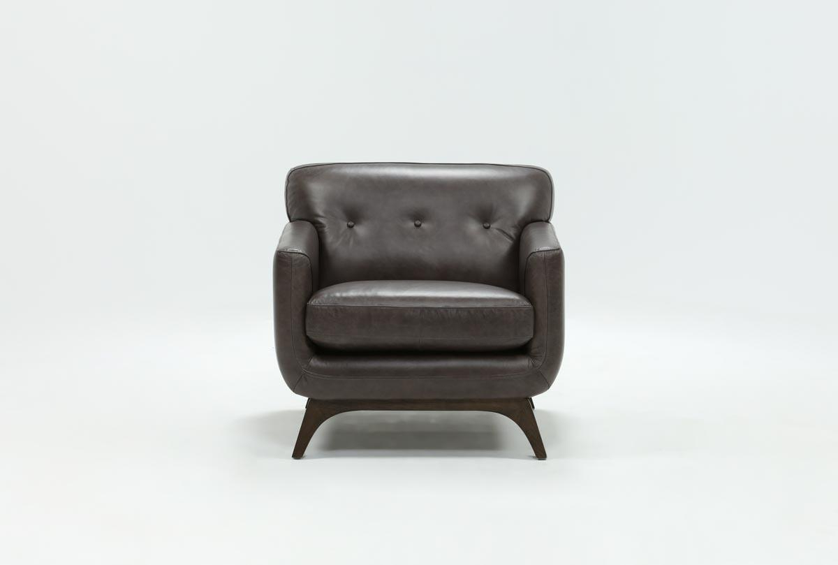 Caressa Leather Dark Grey Sofa Chairs For Most Current Cosette Leather Chair (View 2 of 20)