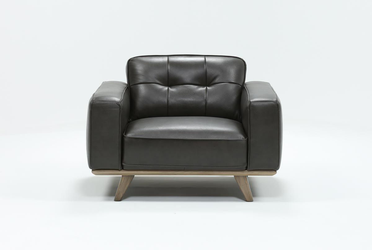 Caressa Leather Dark Grey Sofa Chairs With Most Recent Caressa Leather Dark Grey Chair (View 2 of 20)