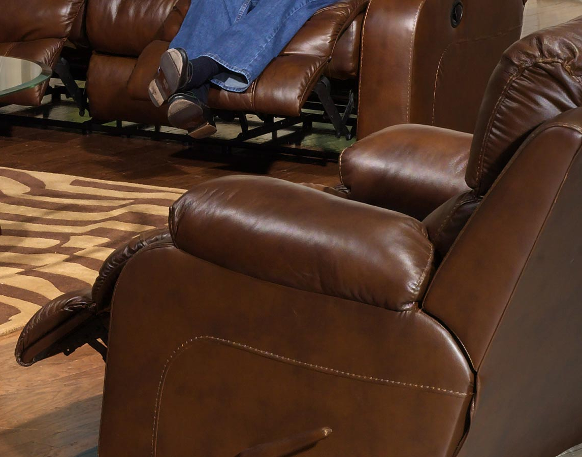 Catnapper Dallas Top Grain Leather Swivel Glider Recliner – Tobacco With Trendy Swivel Tobacco Leather Chairs (View 3 of 20)
