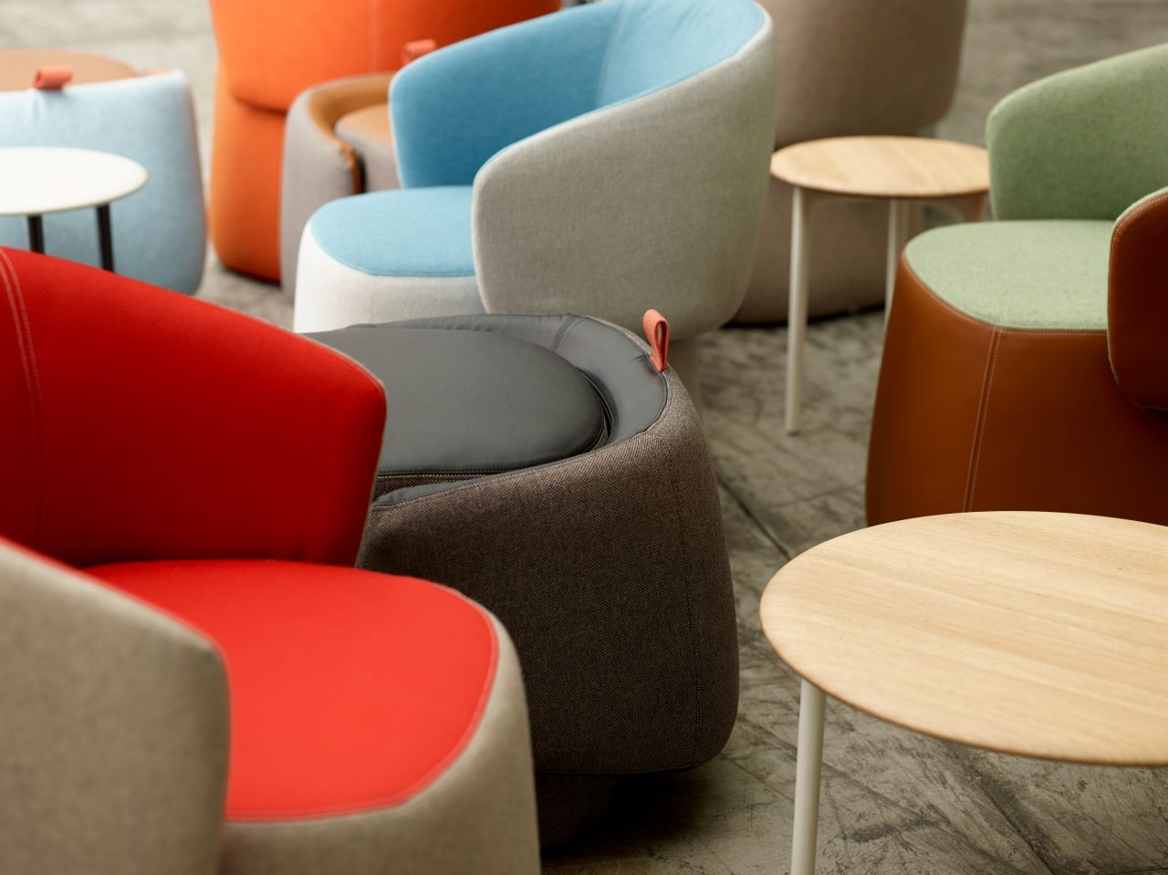 Chadwick Tomato Swivel Accent Chairs In Newest Haworth Openest Collection Chick Pouf With Back – Modern Planet (View 16 of 20)