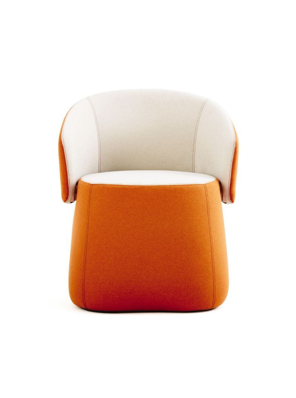 Chadwick Tomato Swivel Accent Chairs Regarding Preferred Haworth Openest Collection Chick Pouf With Back – Modern Planet (View 5 of 20)