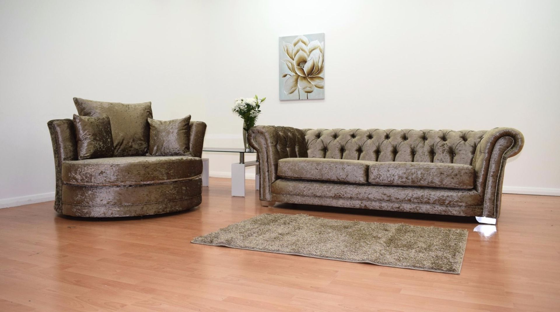 Chesterfield 3 Seater Sofa And Cuddle Chair – Truffle Inside Trendy 3 Seater Sofa And Cuddle Chairs (View 6 of 20)