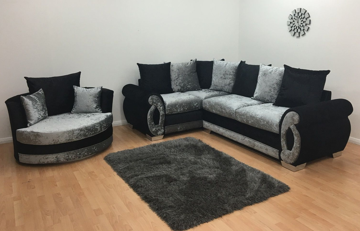 Chloe Double Arm Corner Sofa + Cuddle Chair – Black/silver Throughout Corner Sofa And Swivel Chairs (View 10 of 20)