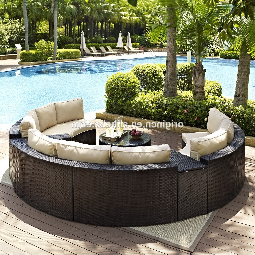 Circle Sofa Chairs Intended For 2019 Semi Circle Patio Wicker Chairs With Sectional Arm Tables Rattan (View 18 of 20)