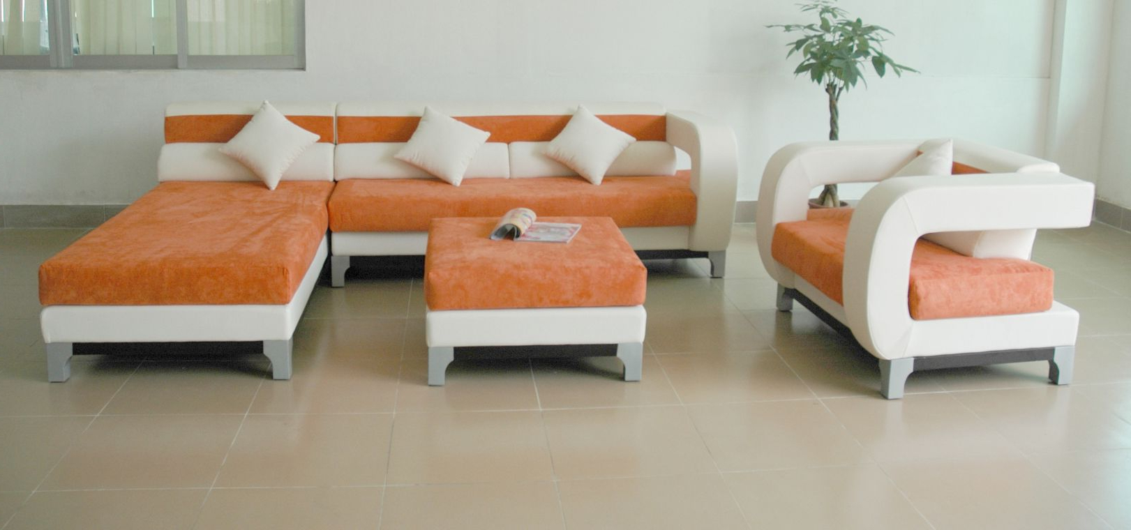 Contemporary Shape Of Italian Sofa With Combination Of White And Throughout Current Orange Sofa Chairs (Gallery 8 of 20)