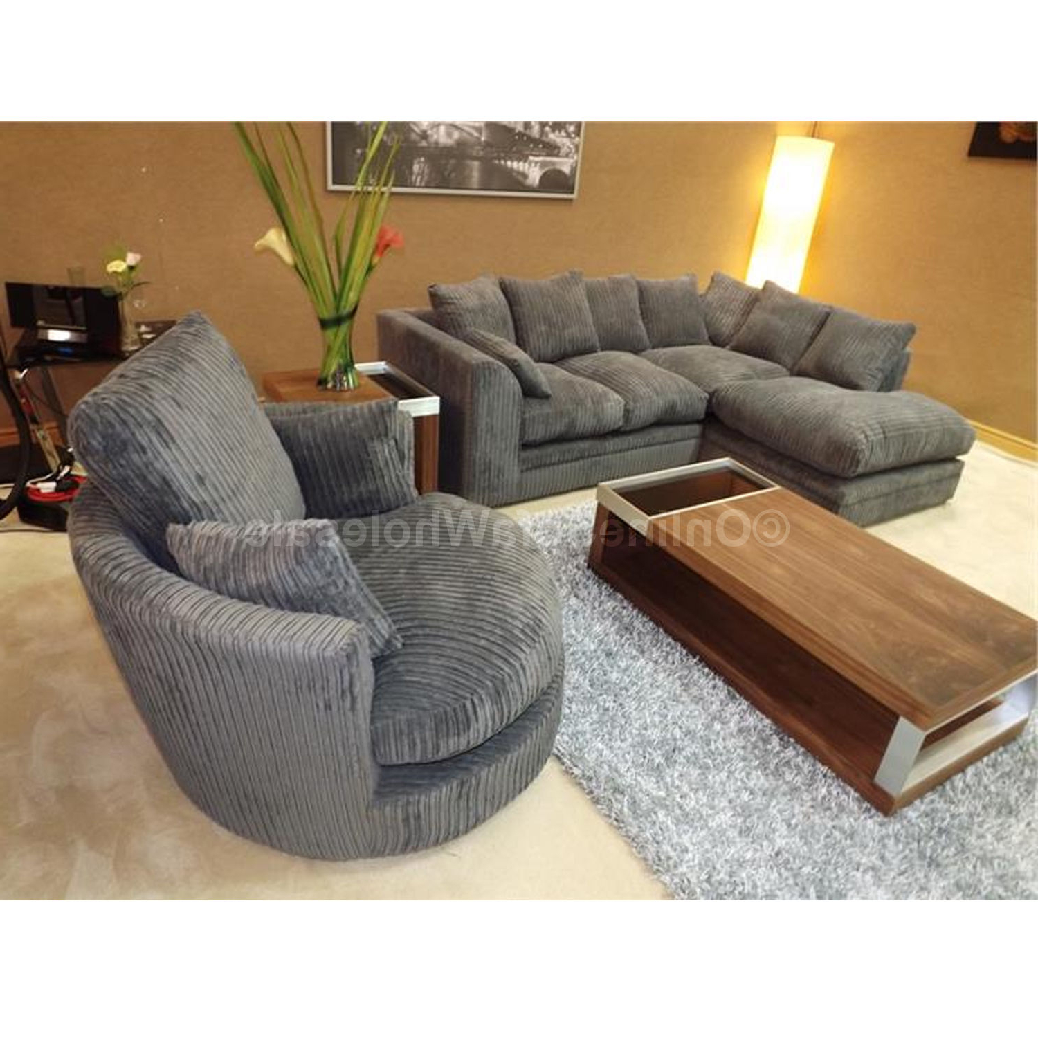 Corner Sofa And Armchair Set – Arm Designs Regarding Preferred Sofa With Swivel Chair (View 5 of 20)