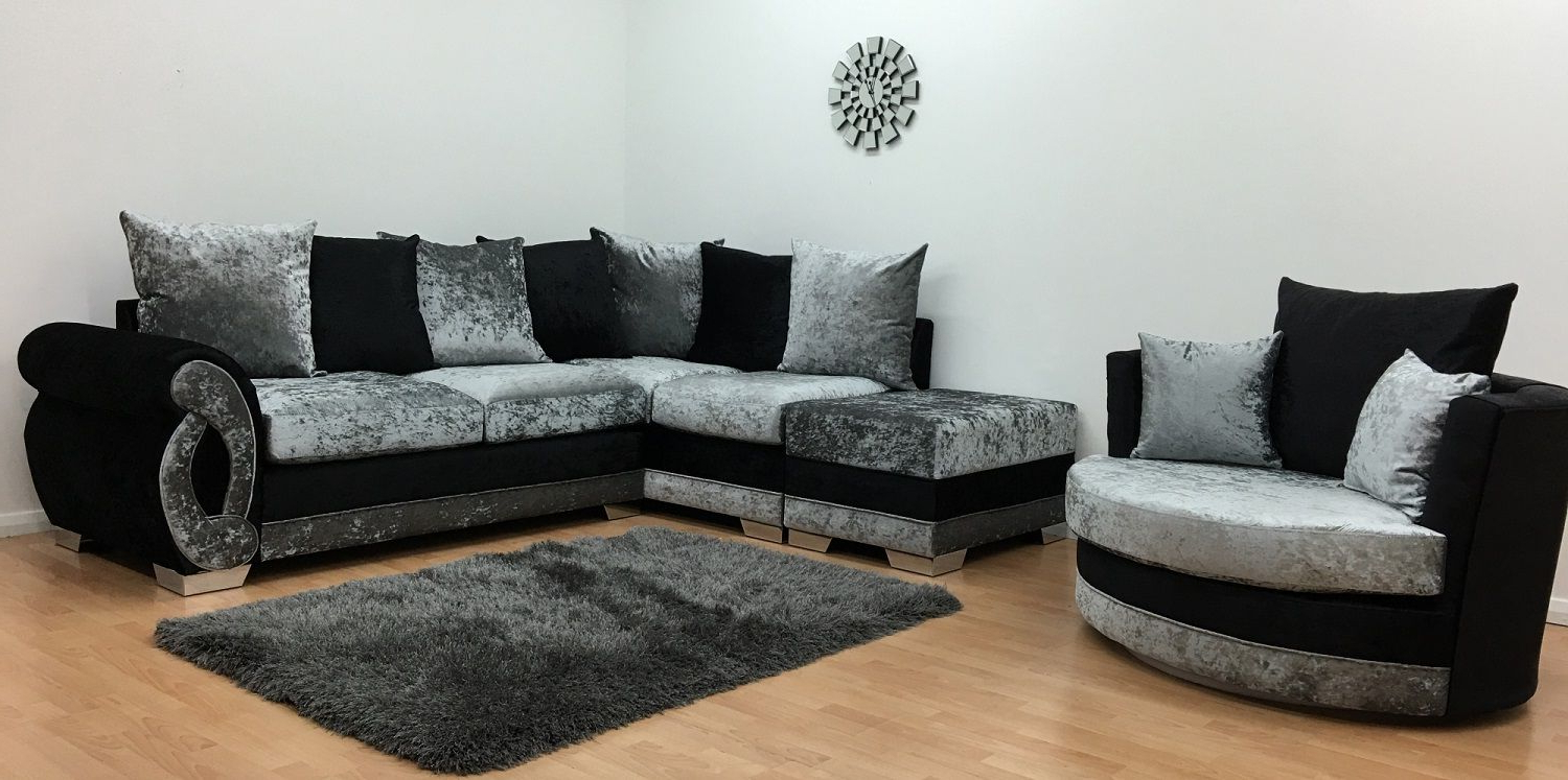 Corner Sofa And Swivel Chairs Pertaining To Most Up To Date Chloe Corner Sofa Cuddle Chair Footstool Black Silver Left Hand (View 4 of 20)