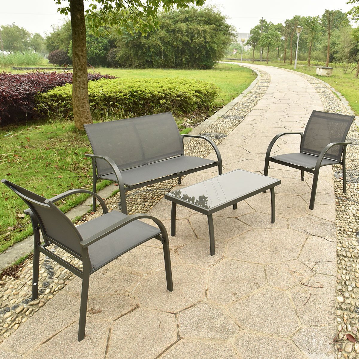 Costway 4Pcs Patio Garden Furniture Set Steel Frame Outdoor Lawn In 2019 Sofa Chairs (View 5 of 20)