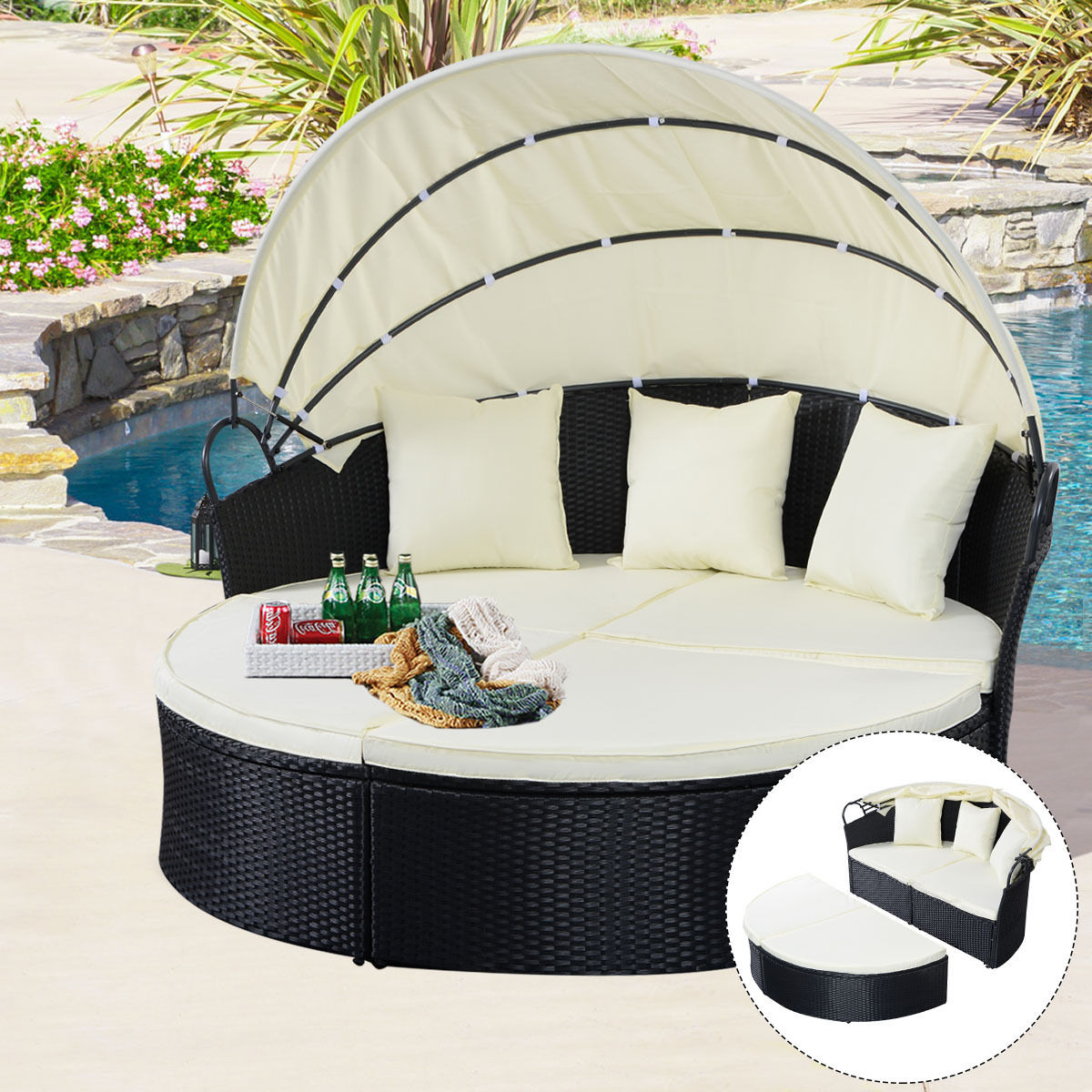 Costway Outdoor Patio Sofa Furniture Round Retractable Canopy Daybed Throughout Preferred Circle Sofa Chairs (Gallery 13 of 20)