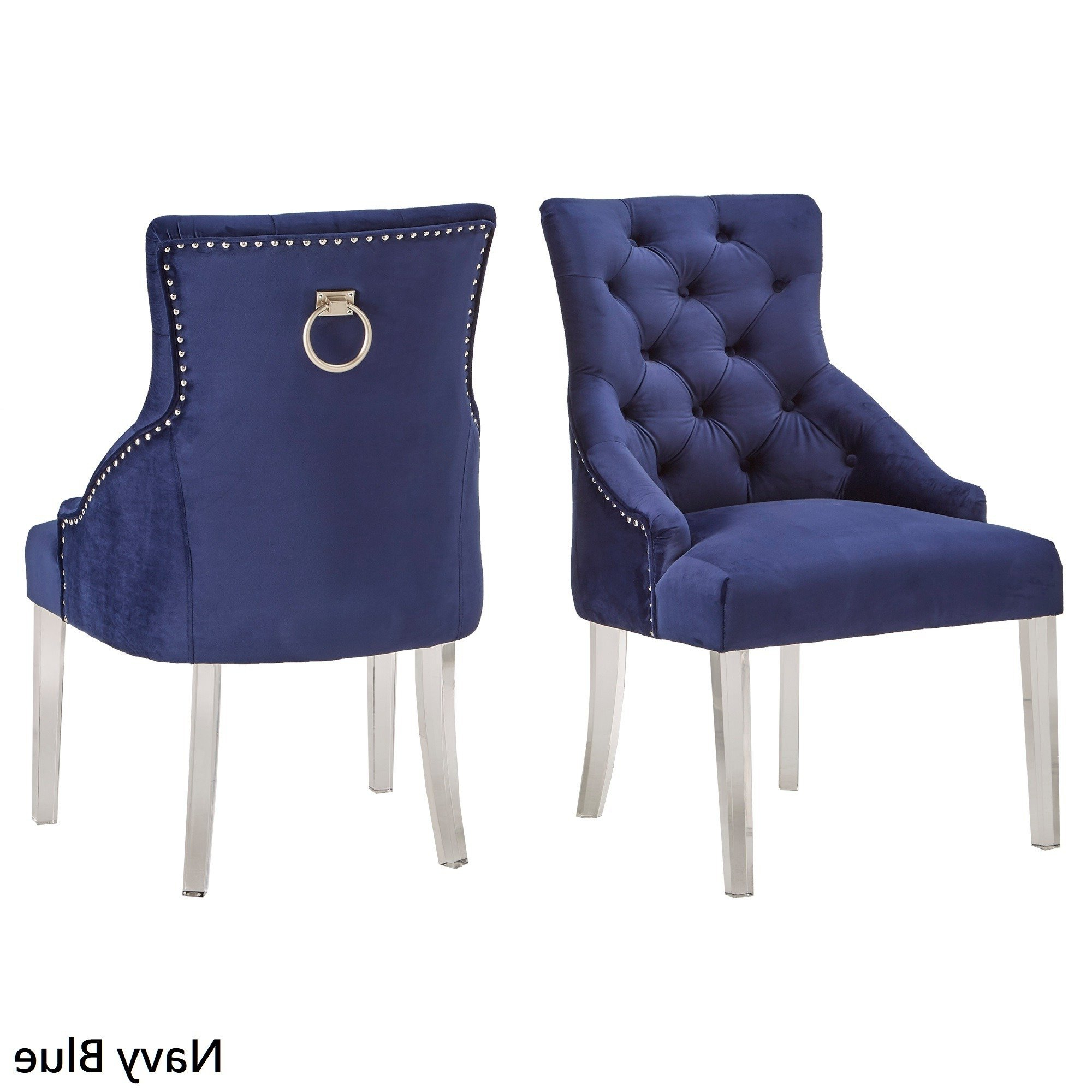 Current Gina Blue Leather Sofa Chairs With Regard To Shop Gina Velvet Tufted Dining Chair (set Of 2) With Acrylic Legs (View 7 of 20)