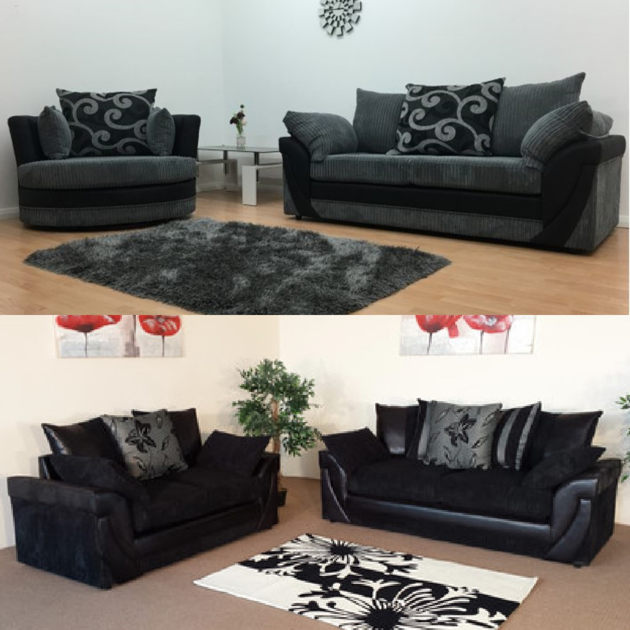 Current Lush Cord Fabric Sofa Set – Sofastorm Regarding 3 Seater Sofa And Cuddle Chairs (View 5 of 20)