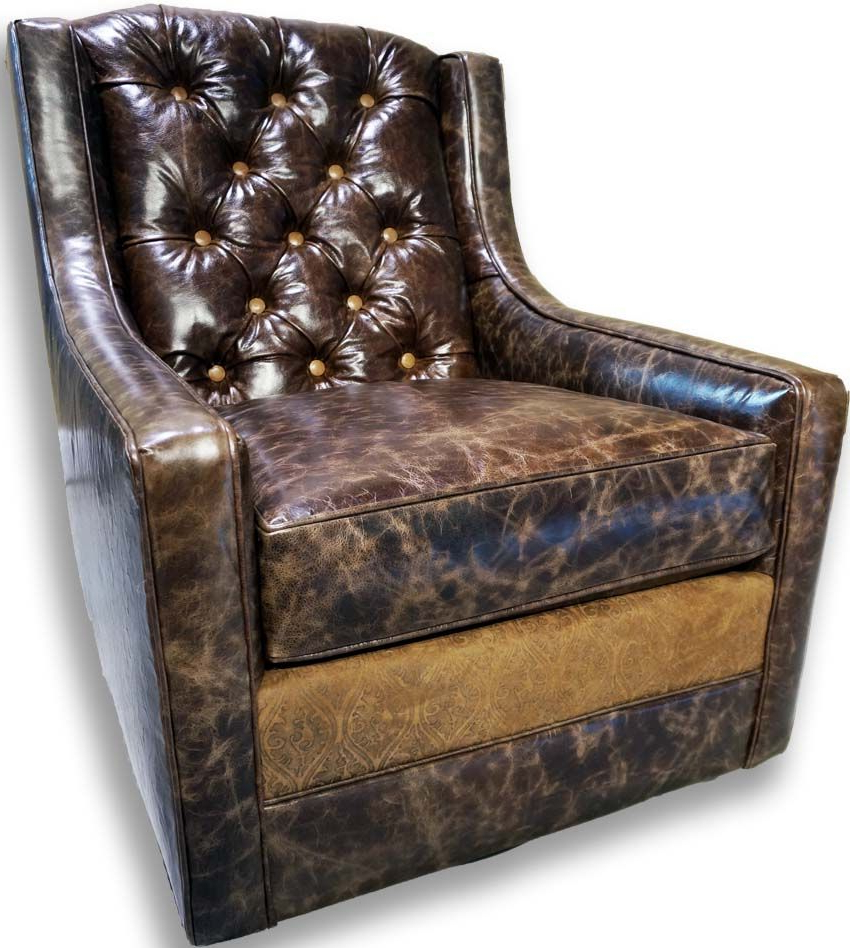 Current Medina Tufted Swivel Glider Western Accent Chairs – Distressed Within Chocolate Brown Leather Tufted Swivel Chairs (Gallery 4 of 20)